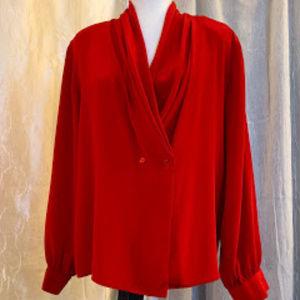 Red Shawl Collar Blouse